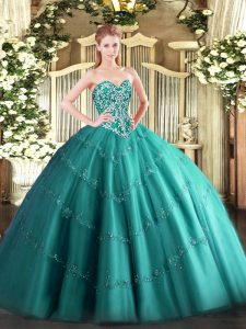 Pretty Teal Sleeveless Tulle Lace Up Quinceanera Gowns for Military Ball and Sweet 16 and Quinceanera