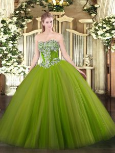 Designer Olive Green Ball Gowns Strapless Sleeveless Tulle Floor Length Lace Up Beading Sweet 16 Dress