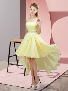 Fabulous Light Yellow Sleeveless Chiffon Lace Up Prom Party Dress for Prom and Party