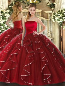 Sleeveless Floor Length Ruffled Layers Lace Up Sweet 16 Dresses with Wine Red