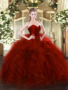 Glamorous Wine Red Ball Gowns Sweetheart Sleeveless Tulle Floor Length Zipper Ruffles Vestidos de Quinceanera