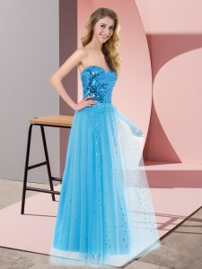 Customized Blue Lace Up Sweetheart Sequins Tulle Sleeveless
