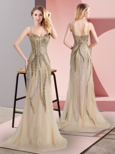 Tulle Spaghetti Straps Sleeveless Sweep Train Side Zipper Beading Prom Party Dress in Champagne