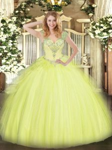 Modern Yellow Green V-neck Lace Up Beading and Ruffles Sweet 16 Dresses Sleeveless