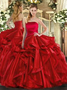 Shining Strapless Sleeveless Sweet 16 Quinceanera Dress Floor Length Ruffles Red Organza