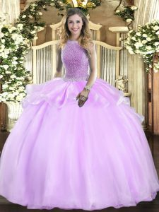 Excellent Floor Length Lilac Quinceanera Gowns Organza Sleeveless Beading
