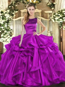 Sleeveless Floor Length Ruffles Lace Up 15th Birthday Dress with Purple