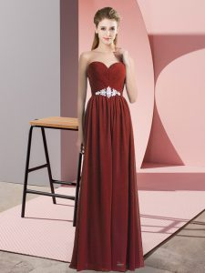 Enchanting Chiffon Sleeveless Floor Length Evening Dress and Beading