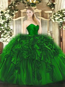 Flirting Dark Green Sweetheart Neckline Ruffles Quinceanera Dresses Sleeveless Lace Up