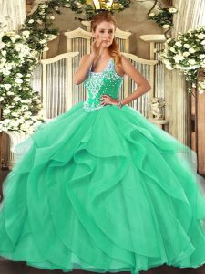 Wonderful Ball Gowns Quinceanera Gowns Turquoise Straps Tulle Sleeveless Floor Length Lace Up