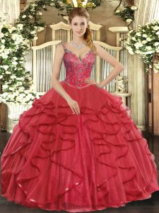 High Class Wine Red Lace Up V-neck Beading and Ruffles Quinceanera Gowns Tulle Sleeveless