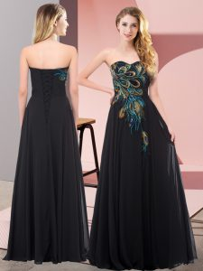 Chiffon Sweetheart Sleeveless Lace Up Embroidery Dress for Prom in Black