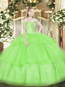 Sleeveless Beading and Ruffled Layers Lace Up Quinceanera Dress