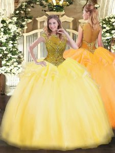 Dramatic Gold Scoop Zipper Beading and Appliques Vestidos de Quinceanera Cap Sleeves