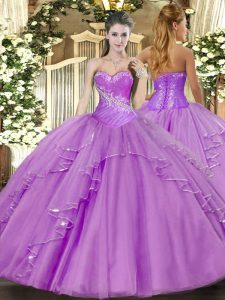 Gorgeous Sleeveless Beading and Ruffles Side Zipper 15th Birthday Dress