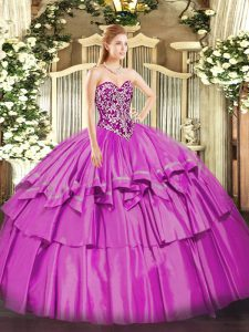 Lilac Sweetheart Neckline Beading and Ruffled Layers Quinceanera Dress Sleeveless Lace Up