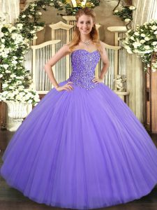 Colorful Lavender Lace Up Quince Ball Gowns Beading Sleeveless Floor Length