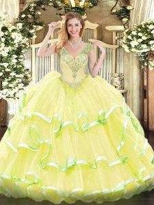 Top Selling Yellow 15 Quinceanera Dress Military Ball and Sweet 16 and Quinceanera with Beading and Ruffled Layers V-neck Sleeveless Lace Up
