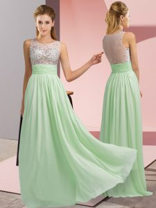 Captivating Apple Green Chiffon Side Zipper Evening Dress Sleeveless Floor Length Beading