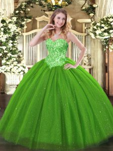 Modern Green Sweet 16 Dress Sweet 16 and Quinceanera with Appliques Sweetheart Sleeveless Lace Up