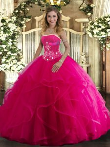 Unique Hot Pink Sleeveless Tulle Lace Up Vestidos de Quinceanera for Military Ball and Sweet 16 and Quinceanera