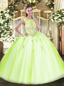 Sleeveless Floor Length Beading and Appliques Zipper Sweet 16 Dress with Yellow Green
