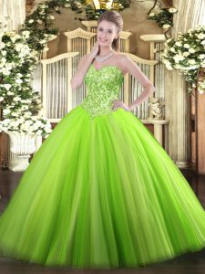Sweetheart Sleeveless Quinceanera Gowns Floor Length Appliques Tulle