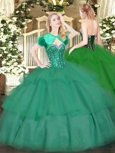 Dynamic Turquoise Tulle Lace Up Sweetheart Sleeveless Floor Length Ball Gown Prom Dress Beading and Ruffled Layers