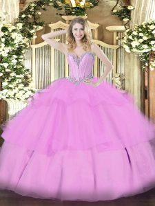Lilac Ball Gowns Tulle Sweetheart Sleeveless Beading and Ruffled Layers Floor Length Lace Up Quince Ball Gowns
