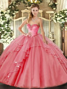 Glittering Ball Gowns Quinceanera Gown Watermelon Red Sweetheart Tulle Sleeveless Floor Length Lace Up