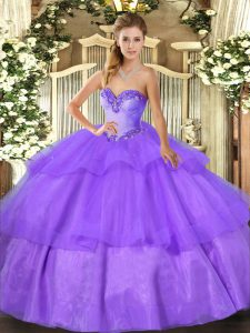 Lavender Sleeveless Tulle Lace Up Quince Ball Gowns for Military Ball and Sweet 16 and Quinceanera