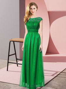 Dark Green Empire Scoop Sleeveless Tulle Floor Length Zipper Lace Prom Gown