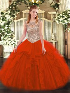 Sophisticated Floor Length Red Quinceanera Gown Tulle Sleeveless Beading and Ruffles