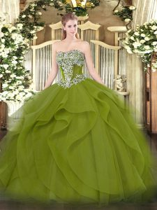 Affordable Sleeveless Beading and Ruffles Lace Up Quinceanera Gown