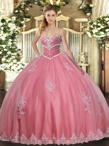 Amazing Watermelon Red Sleeveless Floor Length Beading and Appliques Lace Up Ball Gown Prom Dress