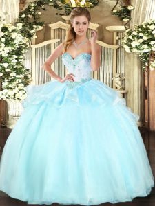 Sleeveless Lace Up Floor Length Beading Quince Ball Gowns