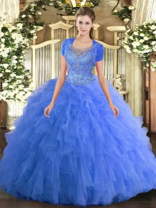 Baby Blue Sleeveless Tulle Clasp Handle Ball Gown Prom Dress for Military Ball and Sweet 16 and Quinceanera