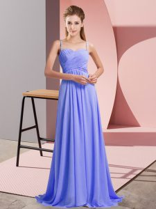 Sweet Backless Prom Dress Lavender for Prom and Party with Ruching Sweep Train