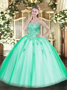 Charming Turquoise Ball Gowns Appliques Vestidos de Quinceanera Lace Up Tulle Sleeveless Floor Length