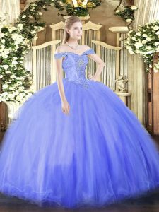 Luxury Sleeveless Floor Length Beading Lace Up Quinceanera Dress with Blue