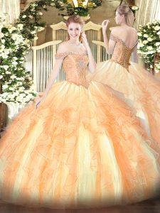 Stylish Sleeveless Tulle Floor Length Lace Up Quinceanera Gowns in Multi-color with Beading and Ruffles