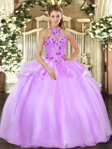 Glamorous Halter Top Sleeveless Sweet 16 Dress Floor Length Embroidery Lilac Organza
