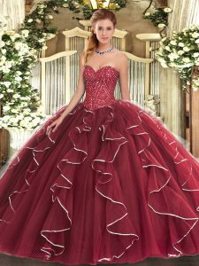 Traditional Floor Length Lace Up Sweet 16 Dresses Burgundy for Military Ball and Sweet 16 and Quinceanera with Beading and Ruffles