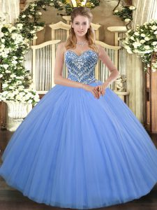 Dazzling Baby Blue Tulle Lace Up Quinceanera Dress Sleeveless Floor Length Beading