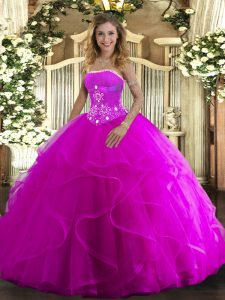 Strapless Sleeveless Lace Up Quinceanera Gowns Fuchsia Tulle