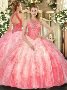 Watermelon Red Lace Up High-neck Beading and Ruffles Sweet 16 Quinceanera Dress Organza Sleeveless