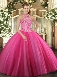 Fitting Hot Pink Tulle Lace Up Halter Top Sleeveless Floor Length 15th Birthday Dress Embroidery