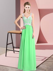 Sleeveless Floor Length Lace Zipper with Apple Green