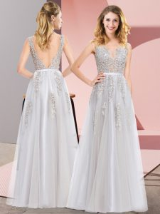 Tulle Square Sleeveless Backless Lace and Appliques Dress for Prom in Grey