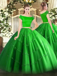 Floor Length Green Sweet 16 Dresses Tulle Short Sleeves Appliques